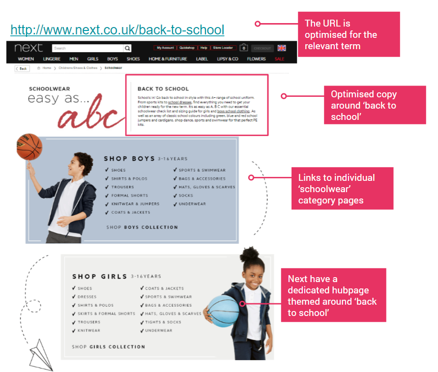 next back to school hub page