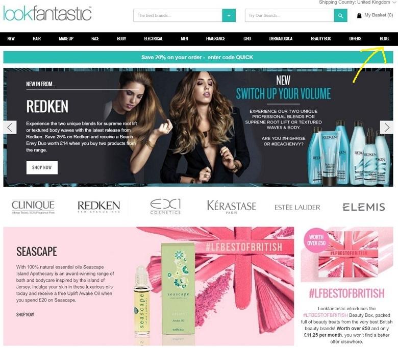 Image result for Look Fantastic website