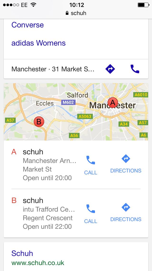 schuh google places