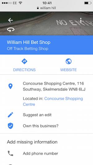 william hill google places