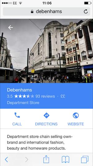 debenhams google places