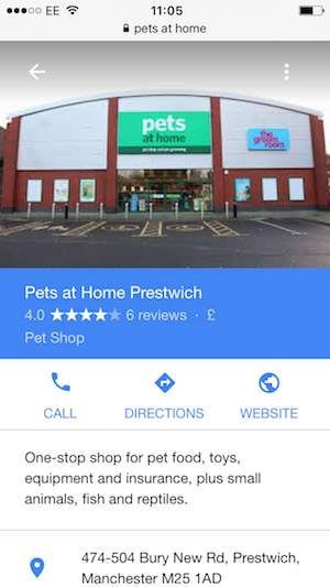 pets at home google places