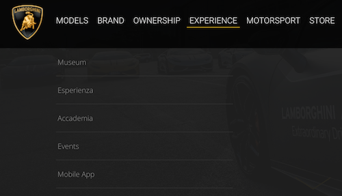 lamborghini header menu