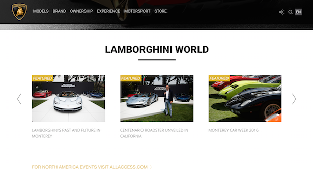 lamborghini website