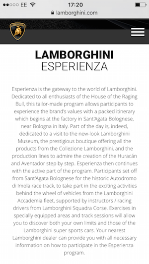 lamborghini website on mobile