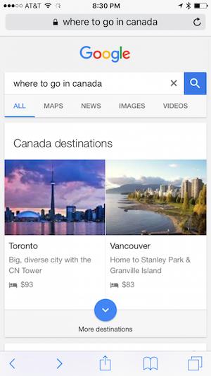 canada destinations in google search