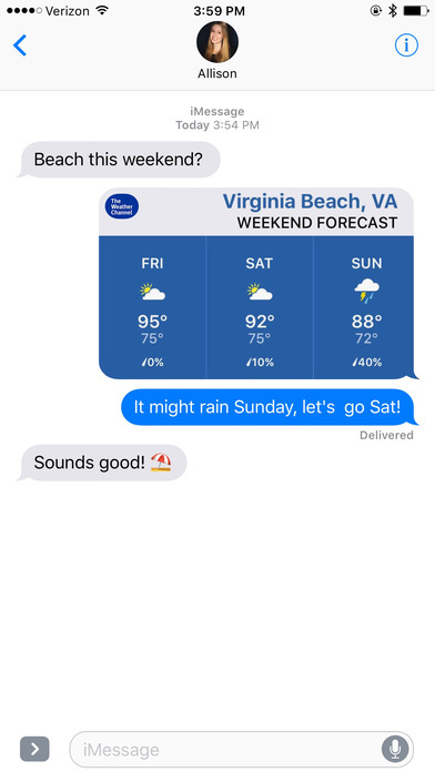 weather app in imessage