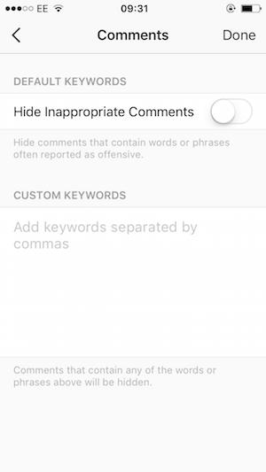 instagram comments filter