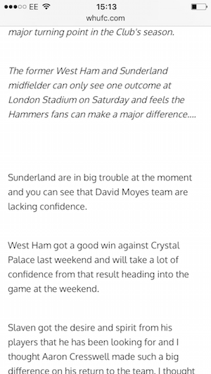 west ham website