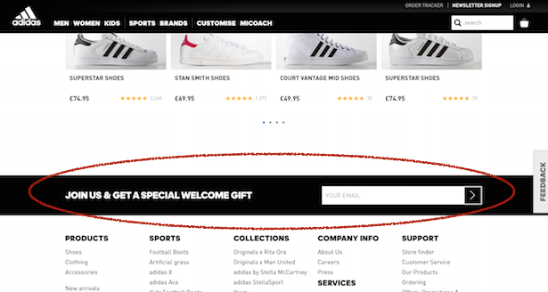 adidas email signup