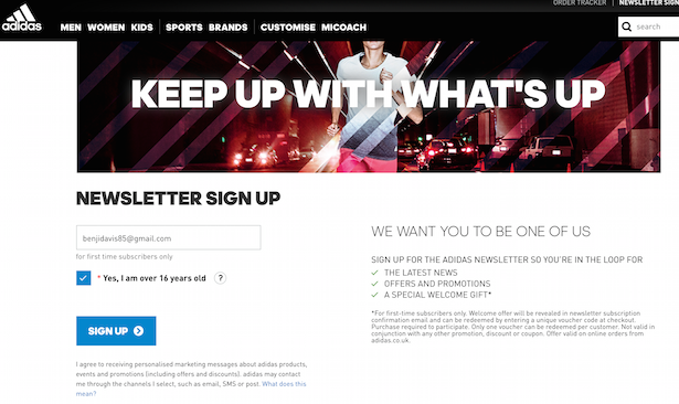 email signup adidas