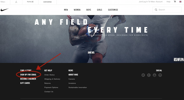 nike email signup