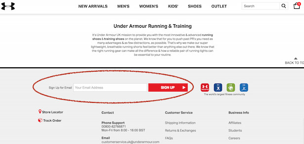 under armour email signup