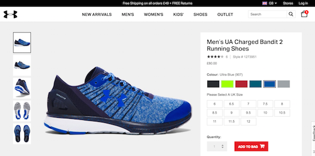 under armour product page