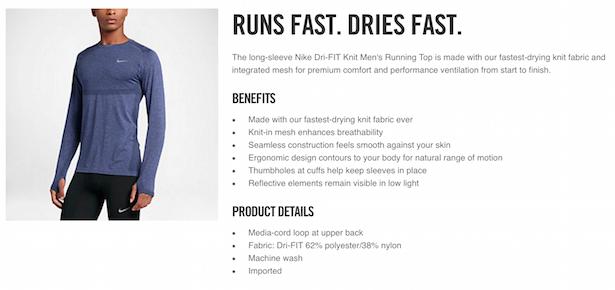 nike product description