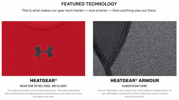 under armour product descriptions