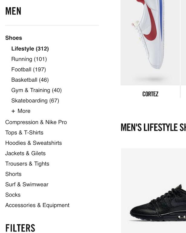 75c60cd505f79 Nike vs. Adidas vs. Under Armour  Site navigation comparison ...