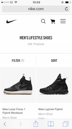 Nike vs  Adidas vs  Under Armour: Site navigation comparison