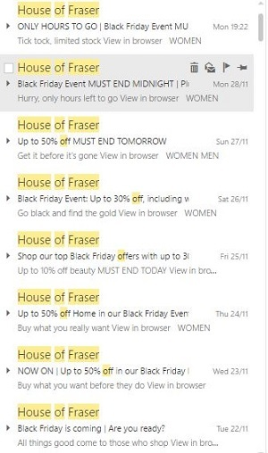 Seven examples of Black Friday email marketing from