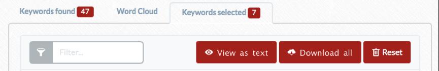 the relevant keywords