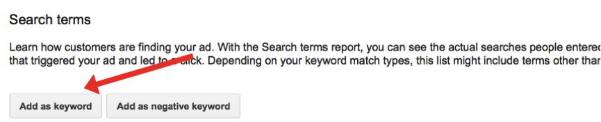 the list of search terms