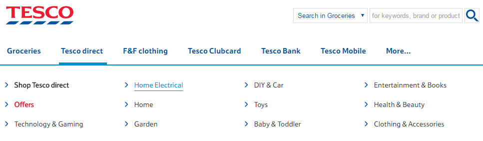 Clear visible focus on the Tesco homepage enables users to see where they are on the page.