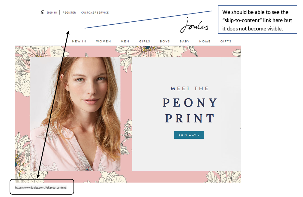 'Skip to content' link on Joules.com does not become visible