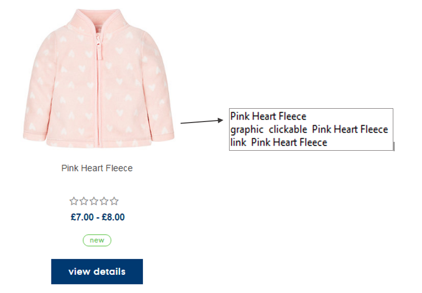 Product descriptions on Mothercare site are read to screen reader users more than once