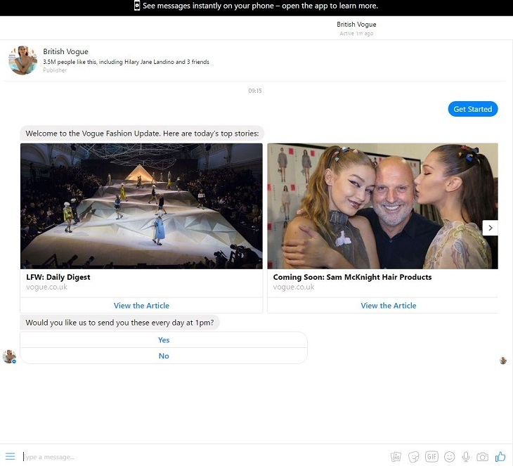 British Vogue Launches Messenger Chatbot For Fashion Week Is It Any Good Econsultancy
