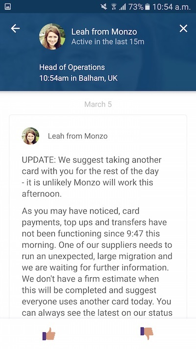 monzo outage notice