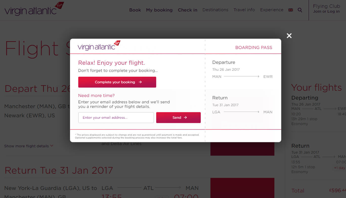 virgin atlantic email capture