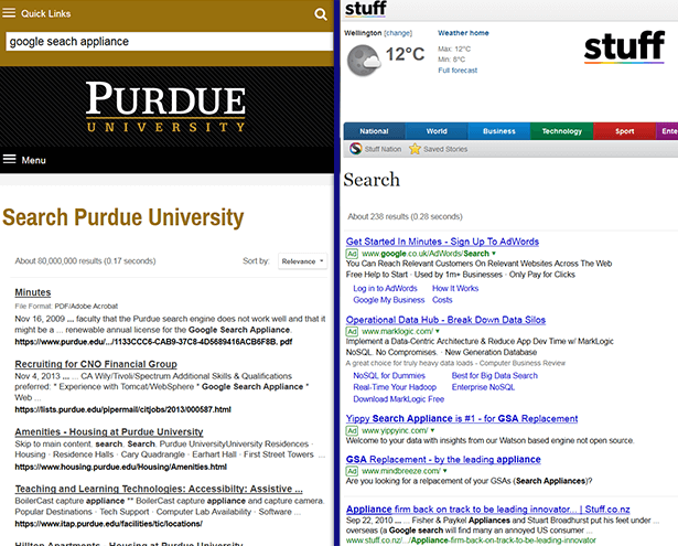 Screenshots of two sites that use Google Custom Search. Purdue.edu does not show ads, just results from the University site. Stuff.co.nz shows four ads before results from the site. These are the same ads as shown on a Google web search for the same term.