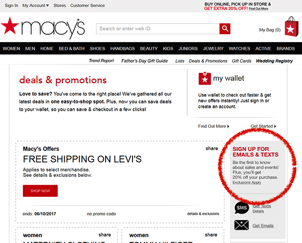 macy's signup