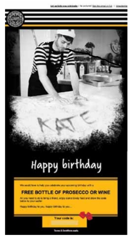 pizza express birthday email