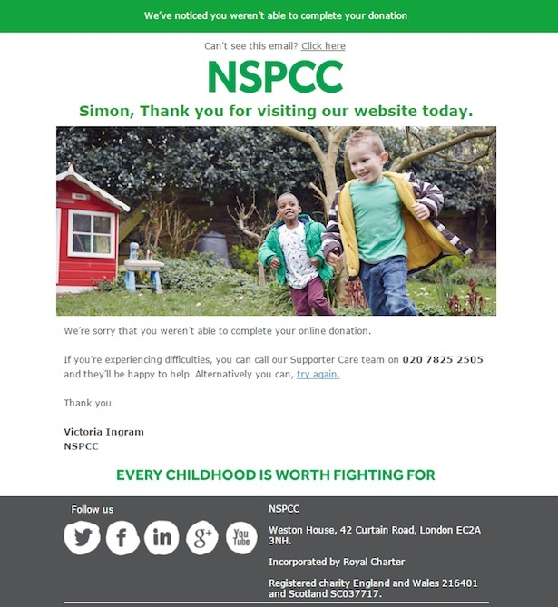 nspcc failed transaction email