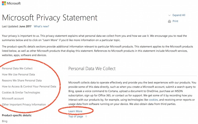 microsoft privacy policy