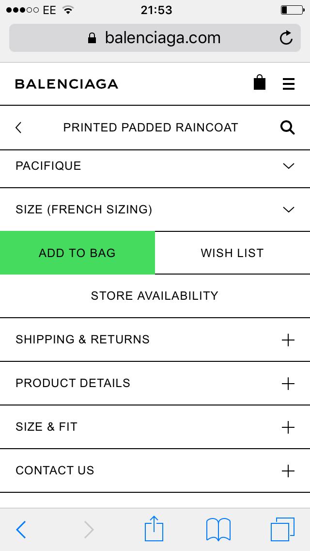 balenciaga product page