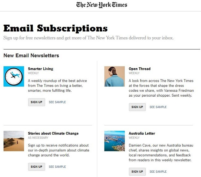 Eight effective examples of email sign up forms – Econsultancy