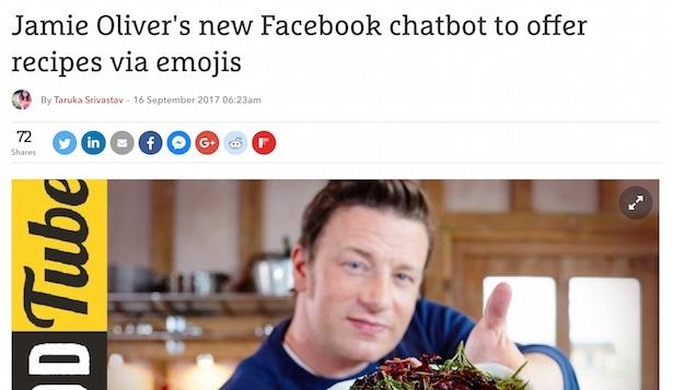 jamie oliver's new facebook chatbot to offer recipes via emoji