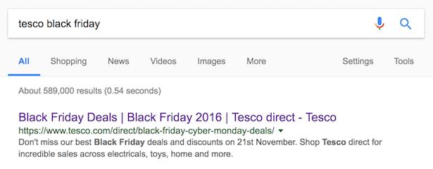 tesco black friday serps
