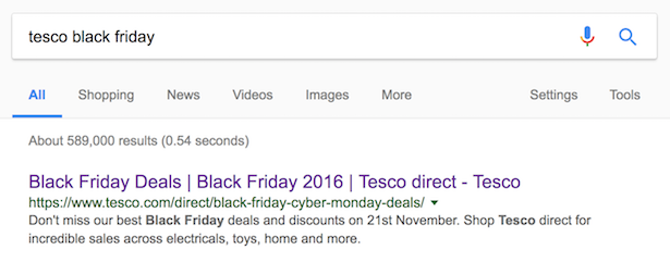 tesco black friday serps