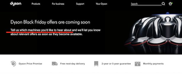 dyson black friday landing page