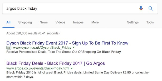 argos black friday search