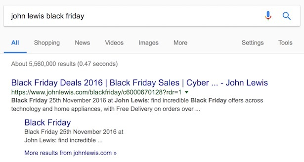 john lewis black friday search