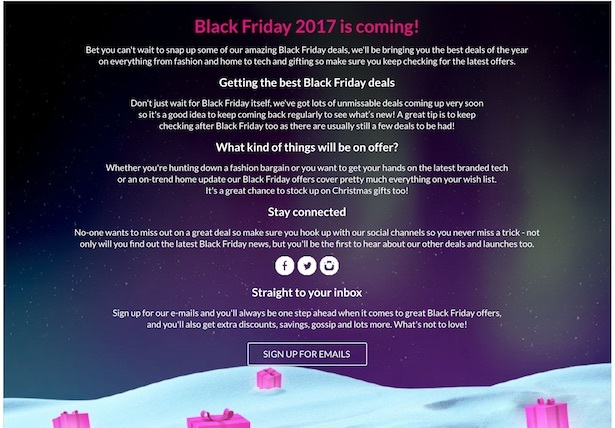 very black friday page