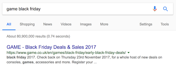game black friday search