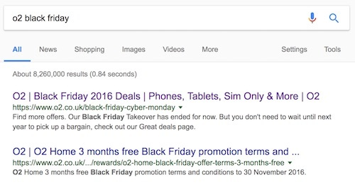 o2 black friday in search