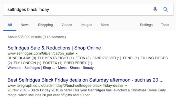 selfridges black friday search