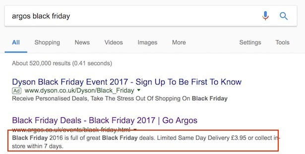 argos black friday search listing