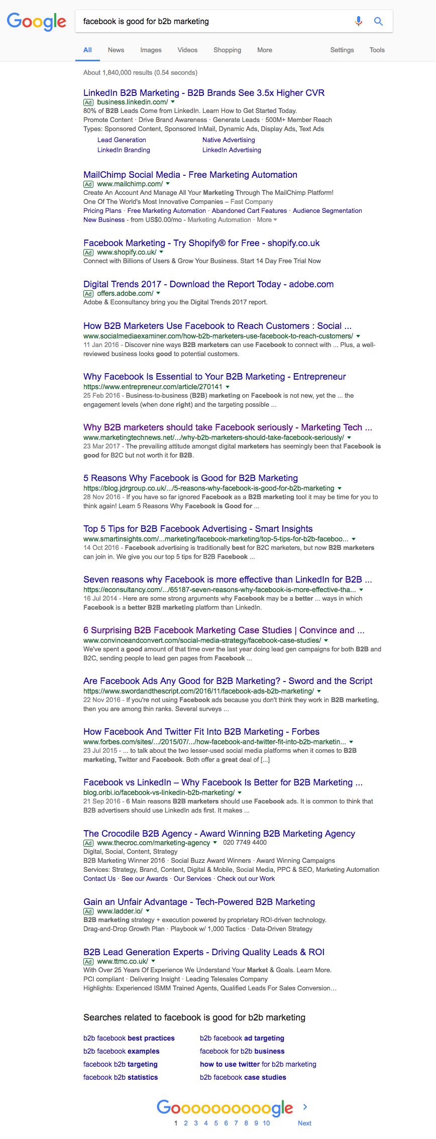 Google FB B2B